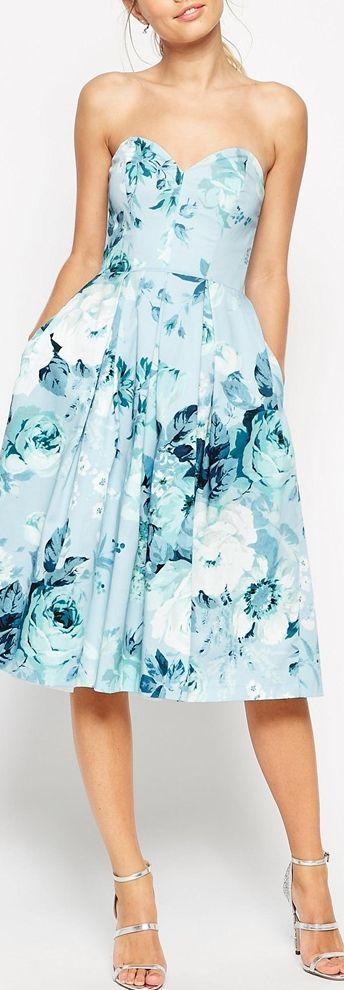rose print strapless midi dress