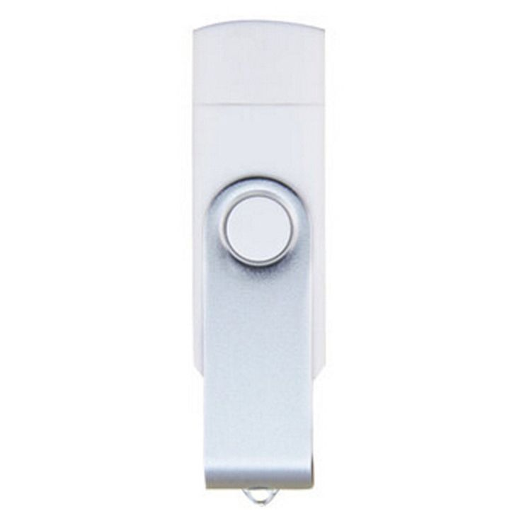 16GB Double Plug Cellphone/PC USB Storage Flash Drive Memory Stick/Disk White