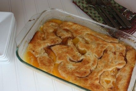 Paula Deen's Peach Cobbler recipe - calls for canned peaches but I used fresh peaches mixed with a little sugar and it turned out AMAZING!