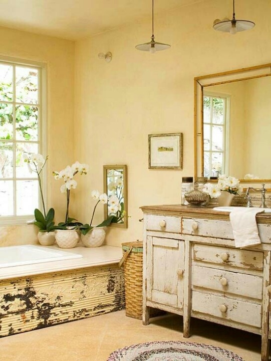 Sensational interior and garden designs by Sandy Koepke   Tin siding on  tub  great chippy dresser for bath vanity   shabby chic 19 best Modern Rustic Bathrooms images on Pinterest   Room  Live  . Rustic Chic Bathroom Ideas. Home Design Ideas