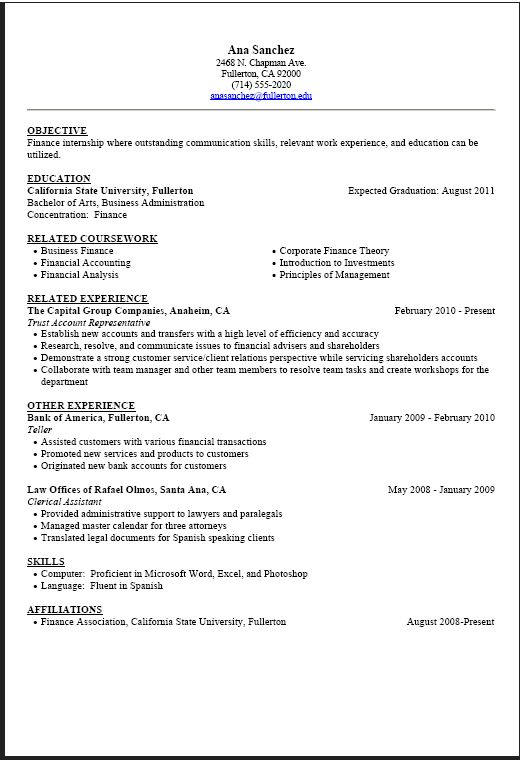 39 best Resume Example images on Pinterest Resume templates - college student resume for internship