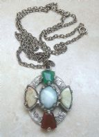 Vintage Faux Agate Celtic Cross Style Necklace By Jacobite.