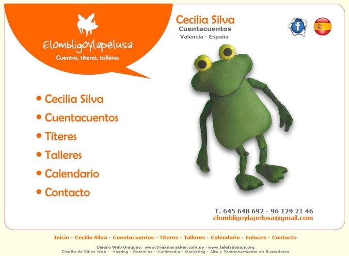 Sitio de títeres de Madrid con entrada animada FLASH acorde a la temática y diseño personalizado.  www.elombligoylapelusa.com