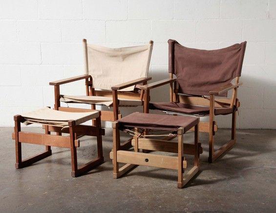 Poul Hundevad Canvas Safari Chair and Ottoman ...