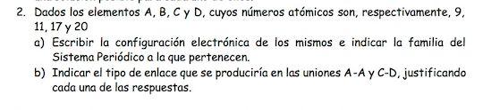 Ejercicio 2, propuesta 2, SETIEMBRE 1998. Examen PAU de Química de Canarias. Temas: estructura atómica.