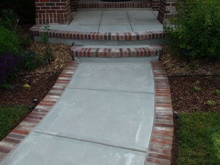 stamped concrete designs and colors | brick front porch step?