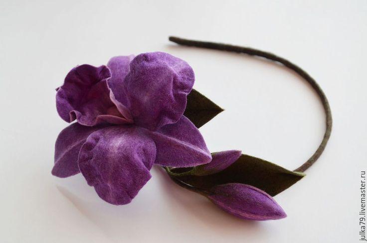 Купить Ободок орхидея каттлея - фиолетовый, ободок для волос, ободок с цветком, орхидея, ободок с орхидеей