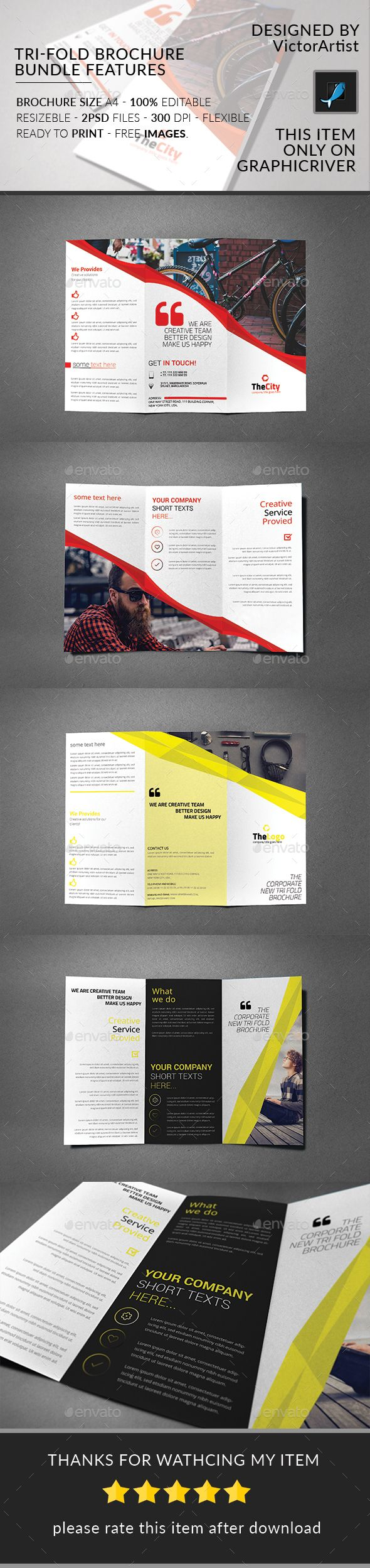 #Tri-Fold #Brochure Bundle - Brochures Print Templates Download here: https://graphicriver.net/item/trifold-brochure-bundle/19688329?ref=alena994