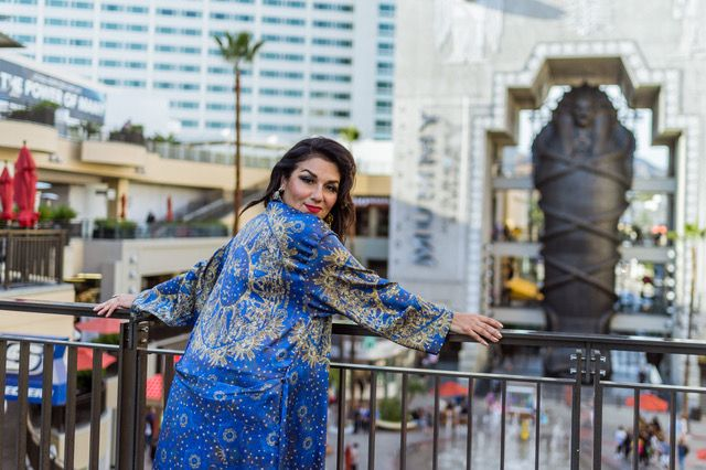 Kaliopi Eleni wears exclusively Solaris Universe of Stars Silk Dreams silk robe opening night Dances with Films Festival, world premiere Australian film, One Less God, 2017.