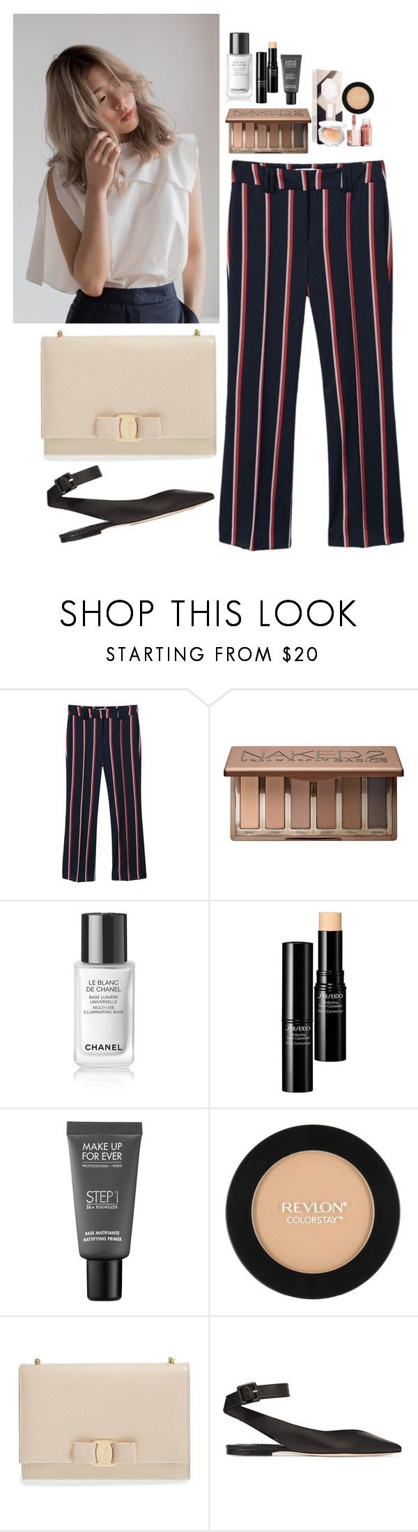 """""""Untitled #5189"""" by veronicaptr ❤ liked on Polyvore featuring MANGO, Urban Decay, Chanel, Shiseido, MAKE UP FOR EVER, Revlon, Salvatore Ferragamo and Jimmy Choo"""