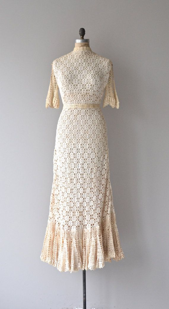 Amazing, amazing, amazing vintage 1970s cotton crochet wedding gown with two shades of cream cotton crochet - open crochet fluttery sleeves, high