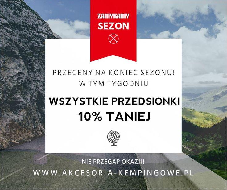 """Kontynuujemy cykl promocji w sklepie Akcesoria-kempingowe.pl z okazji końca sezonu caravaningowego!   Tym razem przeceniamy wszystkie przedsionki o 10%! Wystarczy w polu """"Kod kuponu"""" wpisać hasło """"zamykamysezon2016"""" i gotowe! Oferta ważna do 20 września!  http://www.akcesoria-kempingowe.pl/markizy/przedsionki/"""