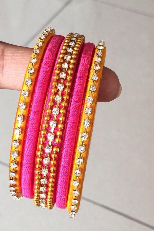 Handmade  silk threaded bangles