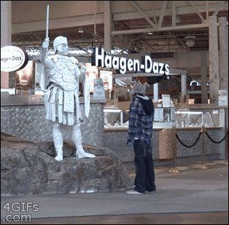 statue, scares, prank GIF