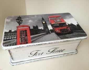 Tea box vintage cream tea time box by JelenaDecoupageChic on Etsy