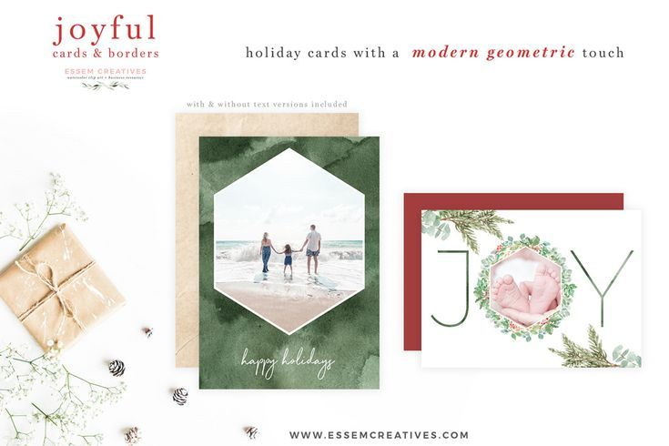 watercolor christmas photo card templates essem creatives
