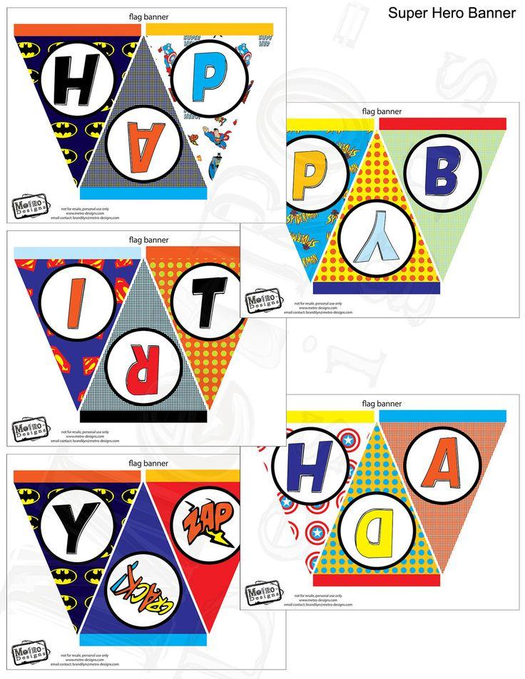Super Hero Banner- Digital File, PRINTABLE, D.I.Y. - by Metro Events/Metro-Designs. $5.98, via Etsy.