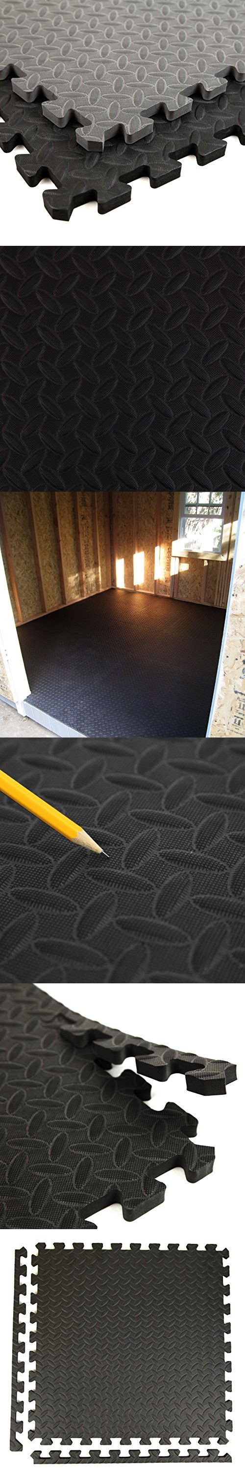 Incstores Diamond Soft Extra Thick Anti Fatigue Interlocking Foam Tiles (6 Pack, Black) - 2ft x 2ft Tiles Ideal for Laundry Room Flooring, Kitchen Mats, Exercise Mats, Garage Mats and More