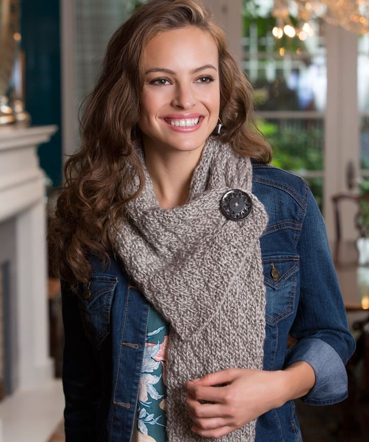 free #knitting pattern Buttoned Up #Scarf - UK knitting terms - easy knitting level
