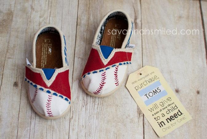 SIZE T4 - Baseball Zebra Print Baby TOMS Shoes - Blue & Red. $65.00, via Etsy. #Texas #Rangers