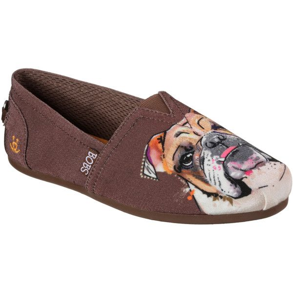 Skechers Women's Bobs Plush - Paw-Fection Brown - Skechers ($40) ❤ liked on Polyvore featuring shoes, flats, brown, flat slip on shoes, slip on flats, brown woven flats, brown flat shoes and skechers shoes