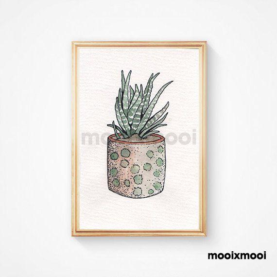Watercolor Cactus Print - Succulent Print - Cactus Art Print - Watercolor Print - Western Print - Home Decor - Digital Print