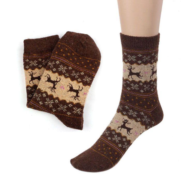 Calze di natale Cervi di Disegno Casuale del Knit Stampa Calzini Delle Donne Calze di Lana Caldo Inverno Uomo Donna Calcetines meias # O