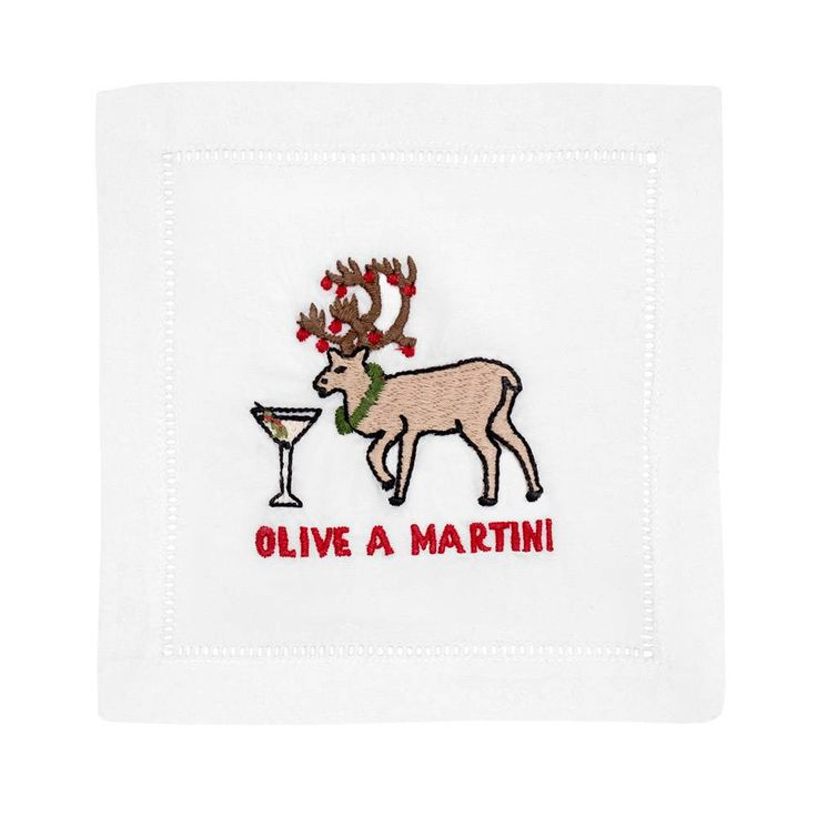 Olive A Martini Cocktail Napkins Set of 4 in Gift Box - August Morgan - $36.99 - domino.com