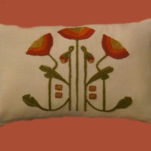 Arts & Crafts Stitches Craftsman Style Textiles, Hand Embroidery. Poppy Pillow  acstitches.com