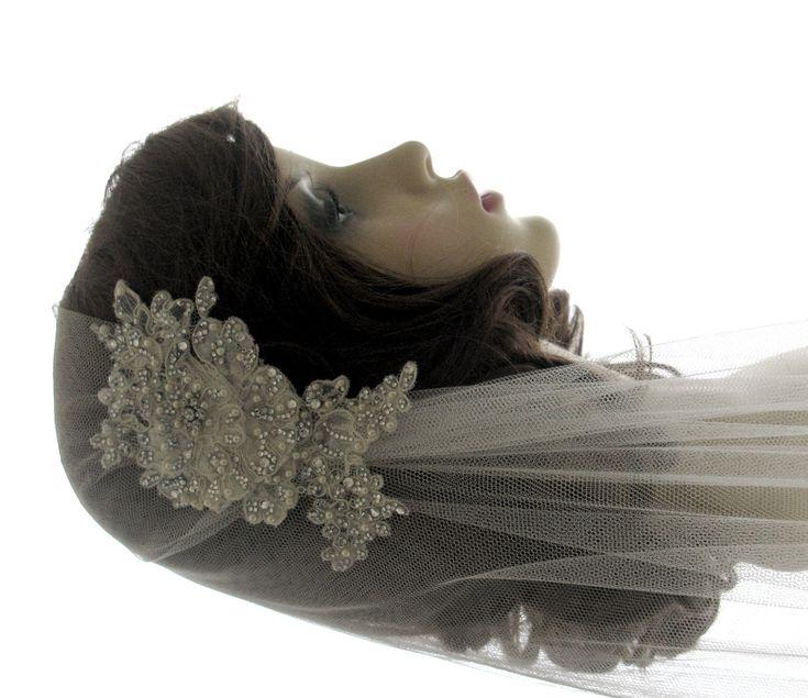 Couture bridal cap veil -1920s wedding  veil - Luscious. £165.00, via Etsy.
