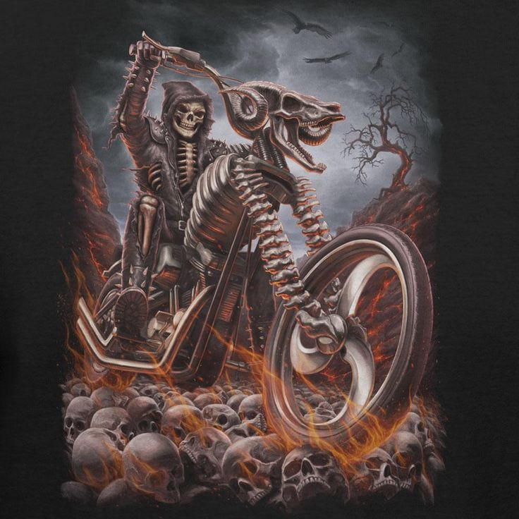 Grim Reaper Riding Flaming Motorcycle Fashion T-shirt