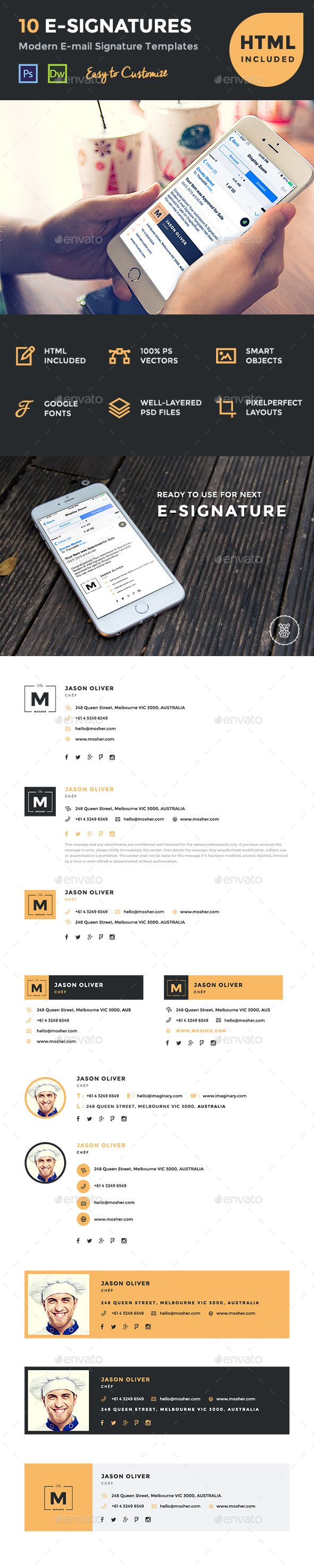 10 E-Signatures - Modern Email Signature Templates - Miscellaneous Web Elements
