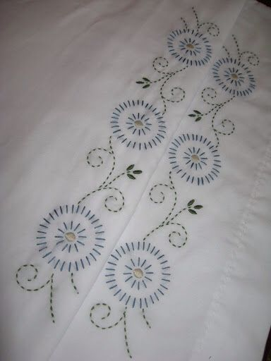 Folk Flowers embroidered pillowcases