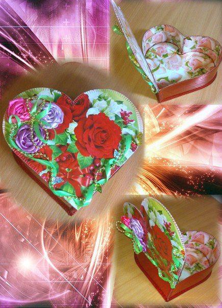 Шкатулка в форме сердца + вышивка атласными лентами