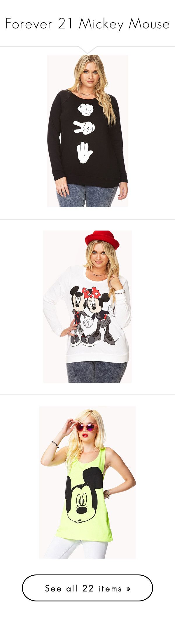 """Forever 21 Mickey Mouse"" by luni-salazar ❤ liked on Polyvore featuring plus size women's fashion, plus size clothing, plus size tops, plus size hoodies, plus size sweatshirts, plus size, graphic tops, plus size womens sweatshirts, long tops and forever 21 sweatshirt"