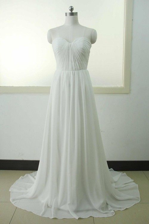 A-line Sweetheart Brush Train Chiffon Wedding Dress