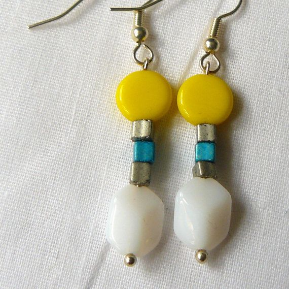 Earrings Yellow/White/Blue by PolyhedraDesign on Etsy