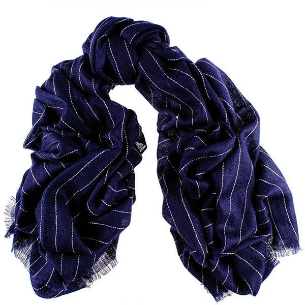 Black Navy Pinstripe Oversized Cashmere Scarf found on Polyvore featuring accessories, scarves, embroidered shawls, oversized scarves, embroidered scarves, woven scarves and cashmere shawl