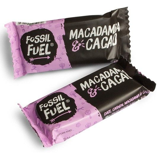 Fossil Fuel Macadamia & Cacao Bar. 100% raw, natural energy bar for the modern day hunter-gatherer.