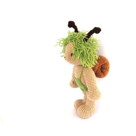 crocheted snail doll autumn fall mint green beige boy by crochAndi, $44.24