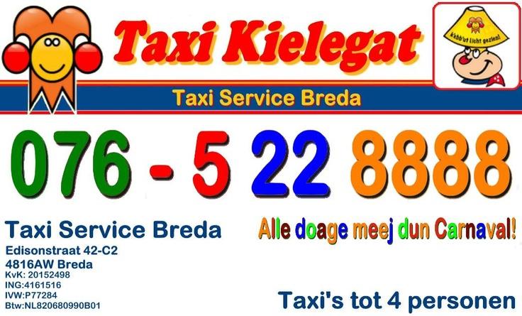 Het Taxi Kielegat visitekaartje van 2012. Blijft actueel natuurlijk, behalve dan het logo van dat jaar. In 2012 was dat dus: Kébbút licht gezien....