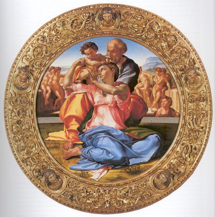 Микеланджело Буонарроти (1475 — 1564) Мадонна Дони    «Мадонна Дони» — единственное сохранившееся до нашего времени оконченное станковое произведение Микеланджело Буонарроти. Представляет собой тондо 120 см в диаметре с изображением Святого Семейства; экспонируется в Уффици.