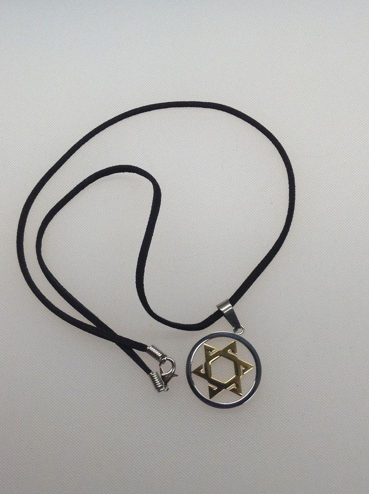 Collar Estrella de David (acero & dorado)