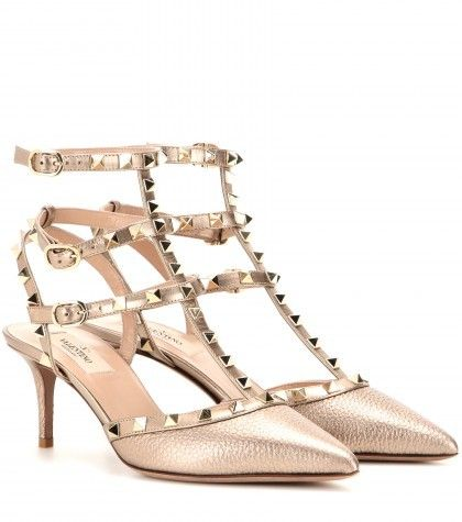 Valentino Rockstud Metallic Leather Kitten-heel Pumps. love the studs! makes it zestful!