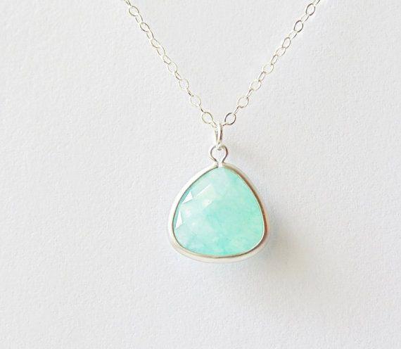 Aqua aquamarine glass triangle matte silver pendant sterling silver necklace. Green-blue. Bridal Bridesmaids necklace.  Wedding jewelry.