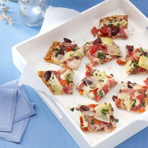 New Year's Appetizers from Taste of Home, including Antipasto Basilico Pizza