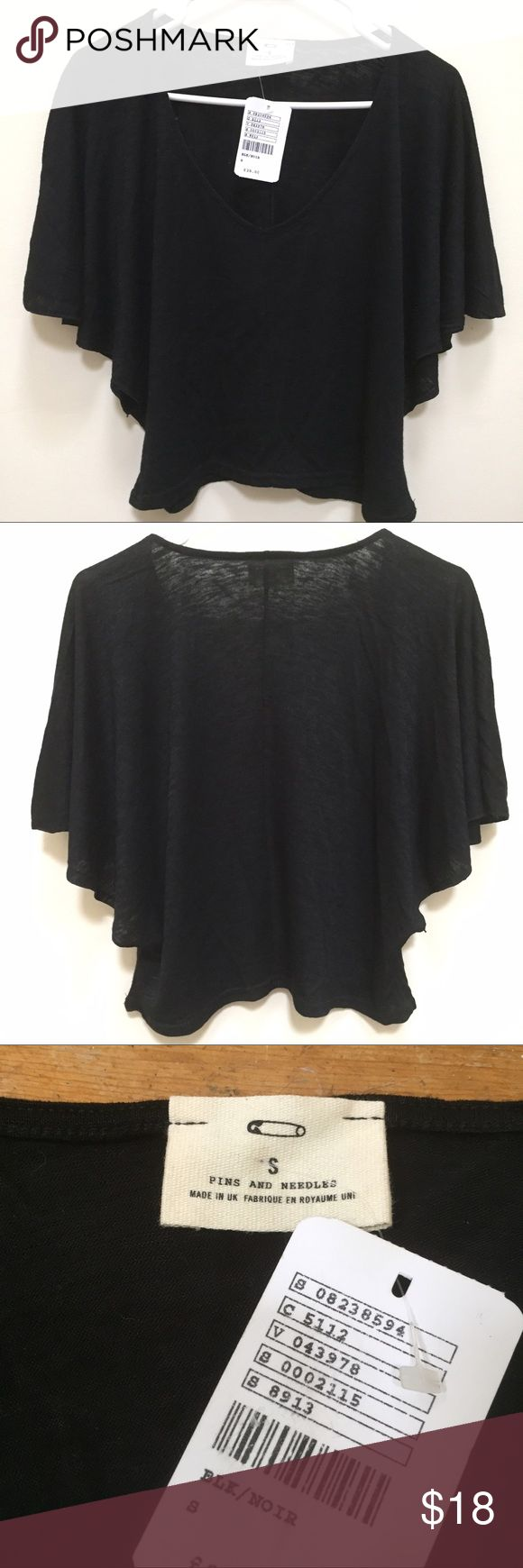 "Pins & Needles Black Bat Wing Sleeve UO Crop Top Loose fitting crop top; perfect for summer paired with high waisted shorts; Size S; true to size; approximate flat measurements 19"" long, 19"" bust; 13"" sleeves; Materials: 63% viscose; 37% percent polyester; Made & bought in UK 🇬🇧 Urban Outfitters Tops Crop Tops"
