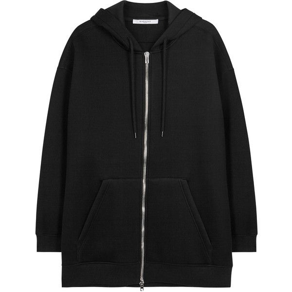 Givenchy Black hooded neoprene sweatshirt ($1,230) ❤ liked on Polyvore featuring tops, hoodies, givenchy hoody, zip top, neoprene top, givenchy top and zipper hoodies