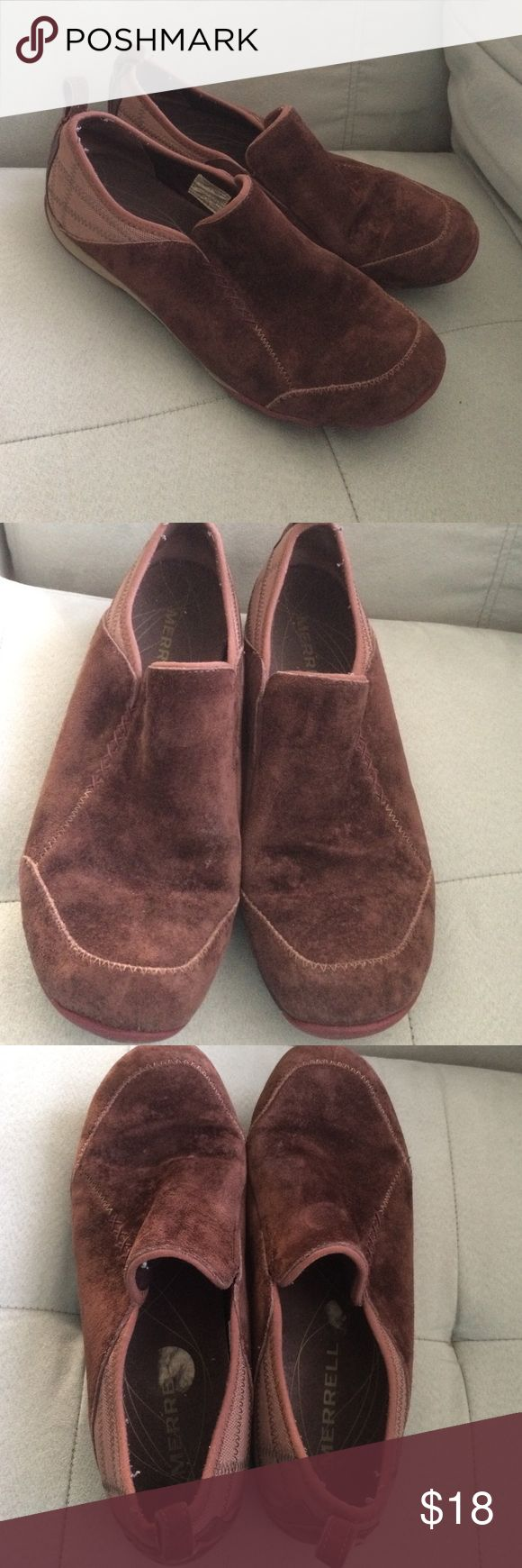 Women's Merrill shoes size 8.5 Women's Merrill shoes size 8.5. In good used condition. They are used so they won't look new. Suede material. Brown and burgundy in color. Comes from smoke free and pet free home. Merrell Shoes Flats & Loafers