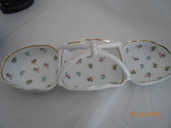 "Vintage Divided Tray Relish Tray I. Godinger & Co.® 3-Sectioned China Baskett In ""Rosebud"" Pattern, #4521"